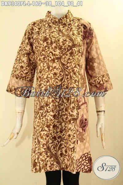 Dress Batik Solo Modern, Busana Batik Paduan 2 Motif Elegan Desain Kerah Shanghai Pakai Resleting Belakang Lengan 3/4 [DR9340PL-L]