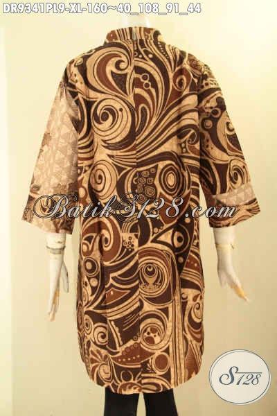 Busana Batik Dress Paduan 2 Motif Nan Berkelas, Pakaian Batik Model Resleting Belakang Dengan Kerah Shanghai Lengan 3/4, Penampilan Terlihat Istimewa [DR9341PL-XL]
