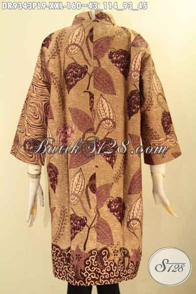 Dress Batik Wanita Terbaru, Busana Batik Istimewa Model Kerah Shanghai Lengan 3/4 Kombinasi 2 Motif Dan Pakai Resleting Belakang, Cocok Banget Untuk Acara Formal [DR9343PL-XXL]