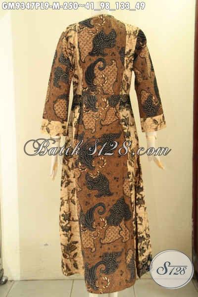 Gamis Batik Syar'i Wanita Muda Kombinasi 2 Motif, Abaya Batik Buatan Solo Pakai Resleting Depan Bahan Halus Yang Nyaman Di Pakai [GM9347PL-M]