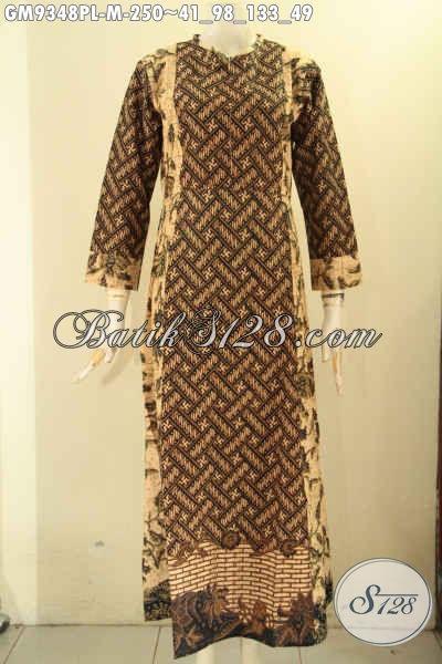 Gamis Batik Paduan 2 Motif Elegan, Baju Batik Wanita Berhijab Model Resleting Depan, Menunjang Penampilan Cantik Dan Anggun [GM9348PL-M]