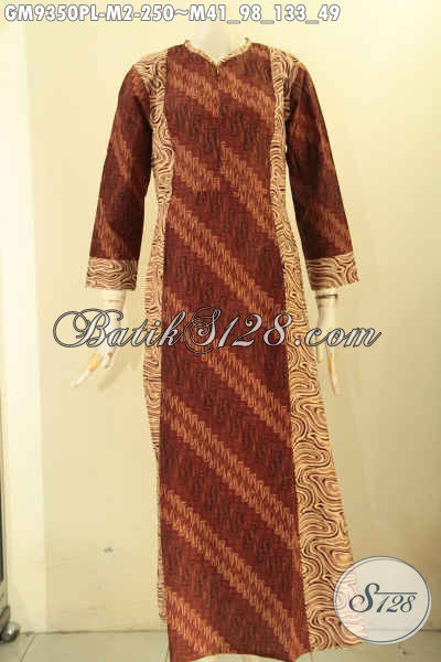 Gamis Batik Dual Motif, Baju Batik Wanita Berjilbab Nan Istimewa Bahan Halus Model Resleting Depan Untuk Penampilan Cantik Menawan [GM9350PL-M]