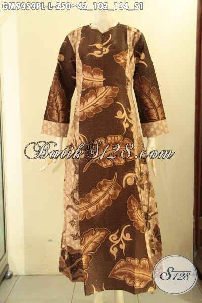 Gamis Batik Elegan Untuk Acara Santai Maupun Resmi, Produk Gamis Batik Kekinian Paduan 2 Motif Nan Berkelas Model Resleting Depan Hanya 250K [GM9353PL-L]