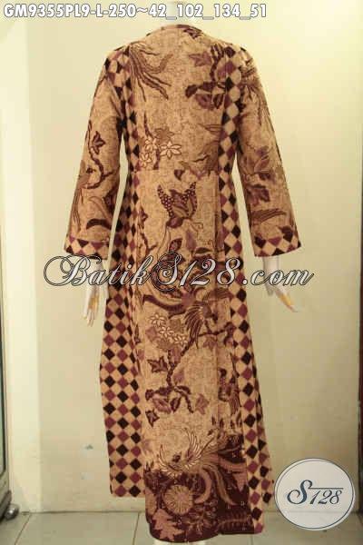 Baju Gamis Model Resleting Depan Bahan Halus Kombinasi 2 Motif Asli Buatan Solo, Pakaian Batik Wanita Berhijab Untuk Tampil Cantik Dan Anggun [GM9355PL-L]