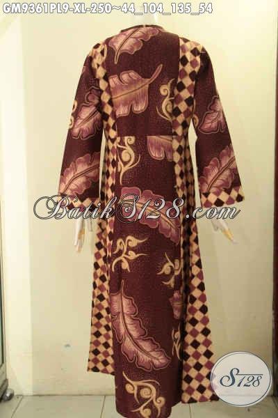 Produk Gamis Batik Terbaru Kwalitas Istimewa, Busana Batik Wanita Berhijab Nan Berkelas Model Resleting Depan Kombinasi 2 Motif, Cocok Untuk Acara Santai Maupun Resmi [GM9361PL-XL]