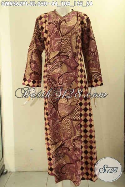 Jual Gamis Batik Wanita Dewasa, Busana Batik Kekinian Model Resleting Depan Kwalitas Bagus Bahan Halus Kombinasi 2 Motif, Bikin Penampilan Cantik Menawan [GM9362PL-XL]