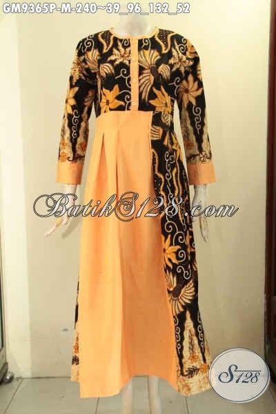 Baju Gamis Batik Kombinasi Kain Polos Model Kancing Depan