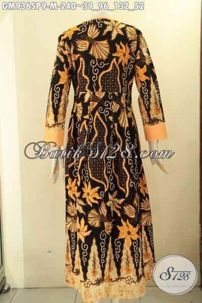 Baju Gamis Batik Kombinasi Kain Polos Model Kancing Depan, Produk Pakaian Batik Syar'i Kwalitas Istimewa Asli Solo Harga Terjangkau [GM9365P-M]