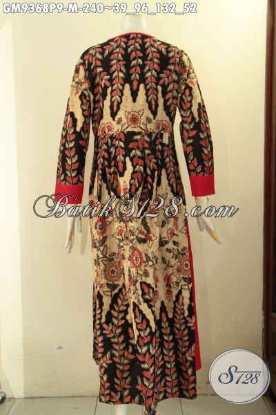 Busana Gamis Batik Solo Kombinasi Kain Polos Warna Merah, Pakaian Batik Wanita Karir Dan Ibu Rumah Tangga Untuk Tampil Anggun Dan Syar'i [GM9368P-M]
