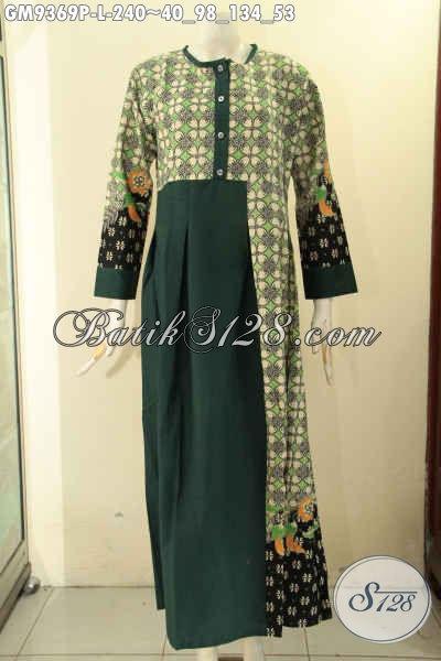 Baju Gamis Wanita Masa Kini Untuk Tampil Cantik Syar'i Model Kancing Depan Kombinasi Kain Polos, Cocok Untuk Kerja Maupun Untuk Ke Acara Resmi [GM9369P-L]