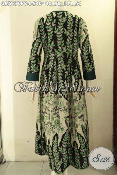 Sedia Gamis Batik Wanita Terbaru, Produk Baju Gamis Kekinian Motif Mewah Kombinasi Kain Polos Model Kancing Depan, Pas Banget Untuk Acara Resmi Maupun Kondangan [GM9370P-L]