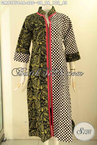 Gamis Batik Model Resleting Depan Nan Elegan Dan Berkelas, Abaya Batik Kekinian Motif Bagus Jenis Cap Bahan Halus Nyaman Di Pakai Harian [GM9375C-L]
