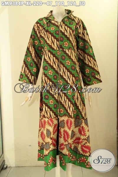 Gamis Batik Motif Klasik Parang Bunga, Busana Batik Elegan Desain Mewah Pakai Resleting Depan, Pilihan Terbaik Untuk Penampilan Lebih Berkelas [GM9384P-XL]