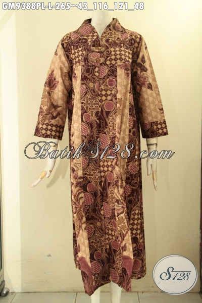 Koleksi Terbaru Gamis Batik Wanita Masa Kini, Busana Gamis Batik Desain Mewah Kancing Depan Berpadu Motif Tren Masa Kini Yang Membuat Perempuan Terlihat Cantik Dan Anggun [GM9388PL-L]