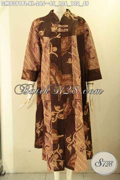 Koleksi Paling Baru Busana Batik Gamis Model Kancing Depan Khas Solo, Gamis Batik Modern Motif Kekinian Jenis Printing, Spesial Untuk Wanita Dewasa [GM9391PL-XL]
