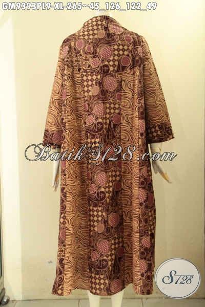 Gamis Batik Wanita Dewasa Model Kancing Depan, Baju Gamis Khas Jawa Tengah Motif Elegan Jenis Print, Bikin Penampilan Cantik Dan Syar'i [GM9393PL-XL]