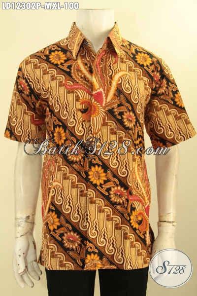 Aneka Busana Batik Pria Lengan Pendek Motif Elegan Desain Terbaru Kwalitas Istimewa, Pakaian Batik Kerja Nan Berkelas Dengan Harga Murah Meriah [LD12302P-M]