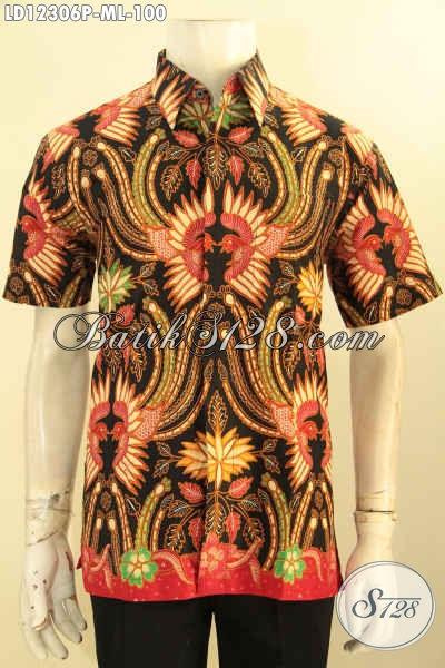 Baju Batik Motif Keren Dengan Kombinasi Warna Unik Proses Printing, Kemeja Batik Lengan Pendek Cowok Untuk Santai Dan Gaul [LD12306P-M , L]