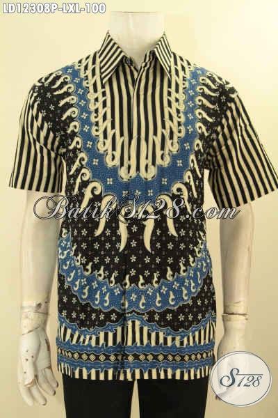 Produk Baju Batik Pria Tren Masa Kini, Batik Pria Lengan Pendek Motif Unik Yang Banyak Di Cari, Berbahan Halus Cocok Untuk Kerja Dan Kondangan [LD12308P-L]