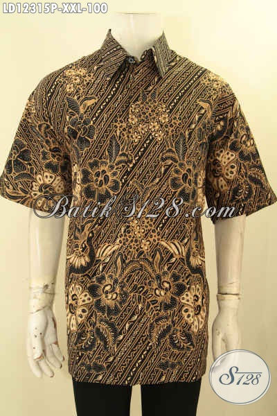 Kemeja Batik Jumbo Pria Gemuk, Busana Batik Solo Big Size Lengan Pendek Motif Elegan Jenis Printing, Pas Banget Buat Ngantor Maupun Kondangan [LD12315P-XXL]