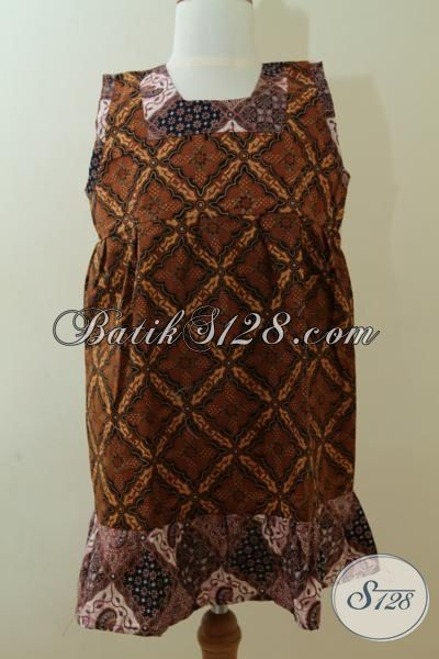 Baju Batik Anak Cewek Tanpa Lengan Motif Klasik, Busana Batik Keren Untuk Usia 4 Hinga 6 Tahun Proses Print [A075P-U456]