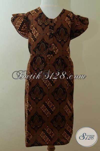 Busana Batik Klasik Anak Cewek Model Tanpa Lengan, Pakaian Batik Model Mewah Usia 6 Hingga 8 Tahun [A078P-U678]