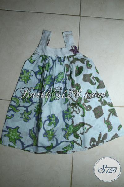 Busana Batik Trendy Masa Kini Khusus Anak Perempuan, Pakaian Batik Tanpa Lengan Desain Keren Kwalitas Halus Dan Adem Harga Murmer [A084BT-1-2 Th]