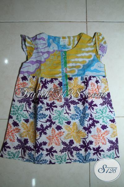 Sedia Batik Anak Cewek Model Terbaru, Baju Batik Anak Tanpa Lengan Proses Cap Dan Print Khus Anak Usia 2 Hingga 3 Tahun [A085-2-3 Th]