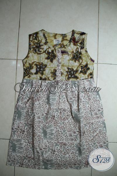 Trend Terkini Pakaian Batik Anak Kecil Perempuan Kwalitas Bagus Harga Murah, Baju Batik Tanpa Lengan Motif Modern Untuk Usia 4 Hingga 6 Tahun [A098CP-4-6 Th]