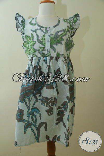 Baju Dress Batik Anak Terbaru Proses Kombinasi Tulis Motif Bagus, Pakaian Batik Halus Dan Adem Nyaman Di Pakai Anak-Anak [A104BT-8-10 Th]
