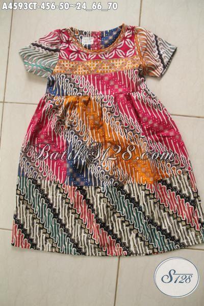 Baju Batik Anak Motif Parang Proses Cap Tulis, Busana Batik Desain Trendy Buat Anak Cewek Umur 4 Hingga 6 Tahun [A4593CT-4 s/d 6 Thn]