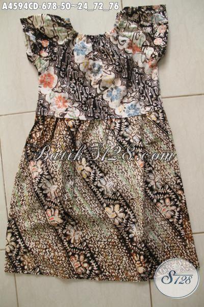 Jual Online Pakaian Batik Modern Untuk Anak Cewek Usia 6 Hingga 8 Tahun, Berbahan Halus Motif Keren Proses Cap Bledak Untuk Tampil Lebih Modis [A4594CD-6 s/d 8Thn]