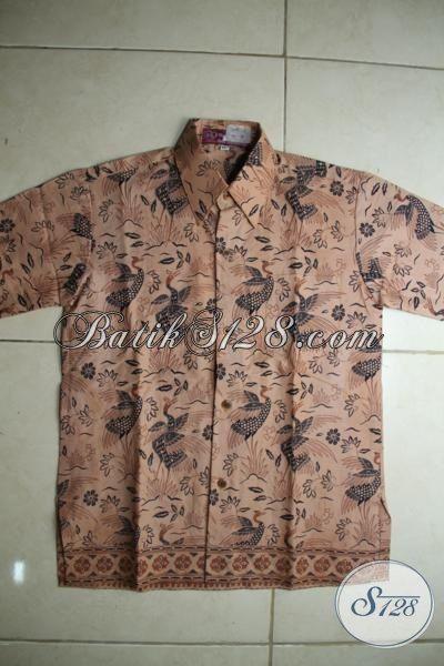 Hem Batik Anak Laki-Laki Warna Coklat Motif Unik Dan Modern, Pakaian Batik Print Buatan Solo Untuk Usia 7 Hingga 9 Tahun [ALD001P-M]