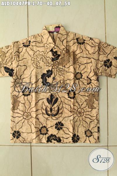 Toko Online Busana Batik Terlengkap, Sedia Kemeja Batik Anak Cowok Lengan Pendek Motif Klasik Proses Printing Cabut Harga 70 Ribu, Size L