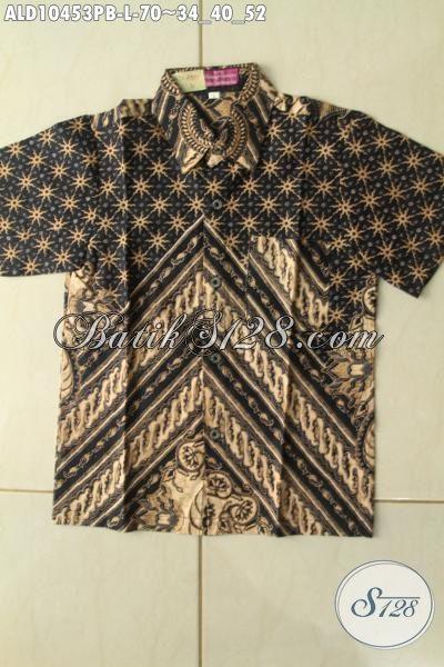 Koleksi Terkini Baju Hem Batik Anak Desain Mewah Motif Bagus Dengan Nuansa Klasik Proses Printing Cabut Harga 70 Ribu Saja, Size L