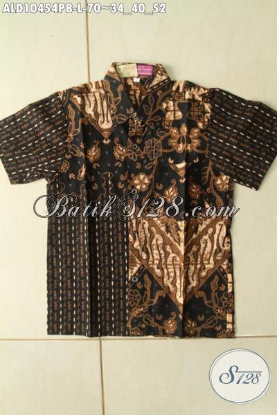 Model Baju Kemeja Batik Anak Cowok Kekinian, Pakaian Batik Haluls Motif Klasik Berkelas Hanya 70K, Size L