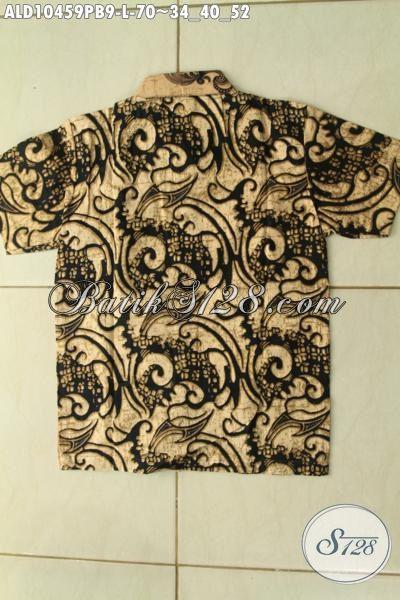 Batik Kemeja Lengan Pendek Anak Cowok, Hem Batik Halus Motif Bagus Kwalitas Istimewa Dengan Harga Biasa, Size L