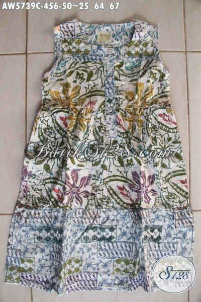 Baju Batik Anak Paud, Busana Batik Fashion Umur 4 Sampai 6 Tahun Motif Lucu Desain Trendy Bahan Halus Proses Cap Pas Buat Jalan-Jalan [AW5739C-4,5,6 Tahun]
