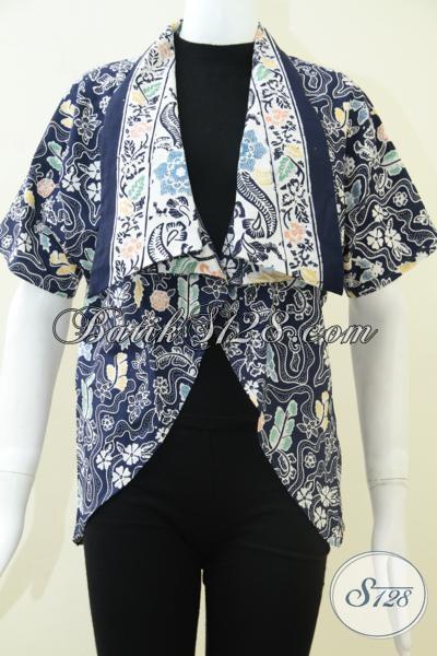 Koleksi Terbaru Toko Bati Solo 2014, Bolero Batik Blazer Bolero Motif Klasik Modern, Cantik Dengan Warna Biru sangat Cocok Untuk Seragam Kantor