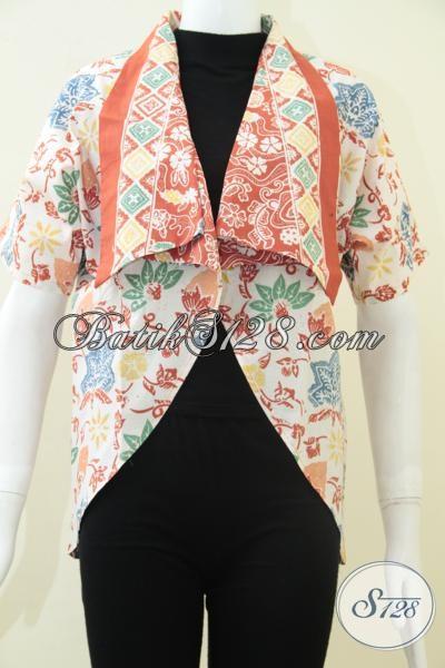 Bolero Blazer Warna Putih Orange, Blazer Batik Jingga Oranye [BLR1106C-All Size]