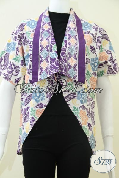 Tren Blazer Batik Terbaru Saat Ini, Busana Balero Batik Warna Ungu Motif Modern Keren Dan Stylish