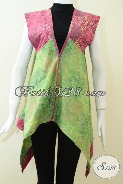 Kombinasi Warna Hijau Dan Merah Muda Untuk Bolero Batik Wanita Karir [BLR1394CS-M]