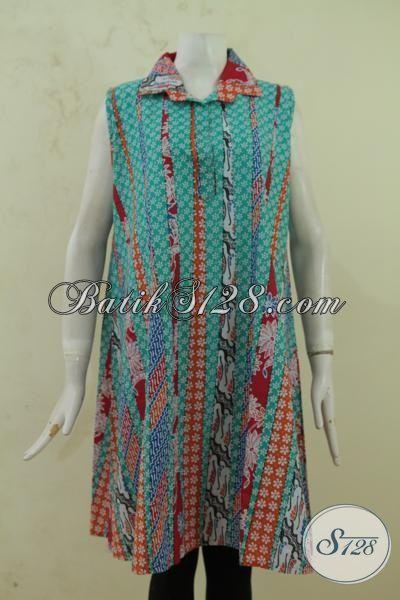 Baju Batik Motif Bagus Tanpa Lengan Warna Cerah Model