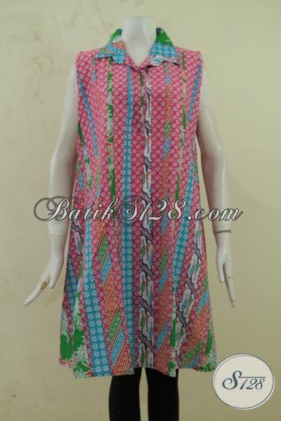 Balero Batik Tanpa Lengan Model Bagus Istimewa, Pakaian Batik Atasan Desain Masa Kini Untuk Remaja Putri Dan Wanita Muda [BLR3355P-All Size]