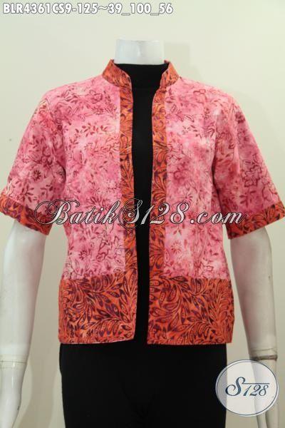 Busana Batik Dual Warna Model Balero Bolak-Balik Lengan Pendek, Pakaian Batik Motif Unik Cap Smoke Untuk Penampilan Lebih Trendy