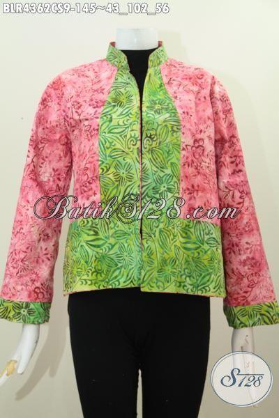 Balero Batik Lengan Panjang Desain Bolak-Balik Dengan Kombinasi Dua Warna Istimewa Motif Unik Trend Masa Kini, Baju Batik Modern Halus Untuk Wanita Muda Tampil Gaya Dan Modis