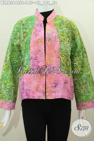 Balero Batik Keren Kombinasi Dua Warna, Baju Batik Bolak Balik Dua Motif Trend Terkini Proses Cap Smoke Spesial Untuk Pesta Dan Jalan-Jalan [BLR4364CS-All Size]