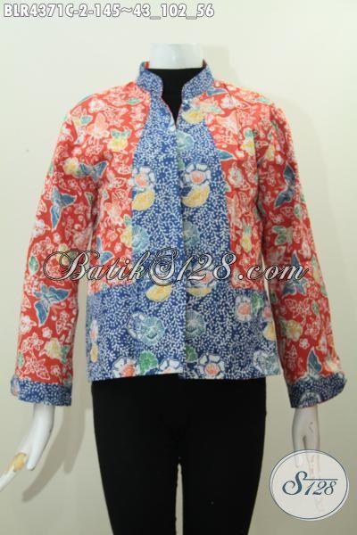 Baju Kerja Batik Model Balero Bolak-Balik Dengan Kombinasi Dua Warna Dan Motif Proses Cap Smoke, Pakaian Batik Cap  Buatan Solo Mewah Harga Murah