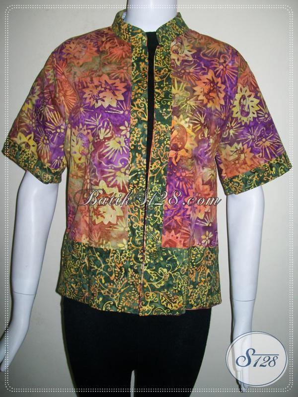 Bolero Bolak Balik Dua Warna Mode Terkini,Bolero Batik Lengan Pendek Elegan [BLR458CS]