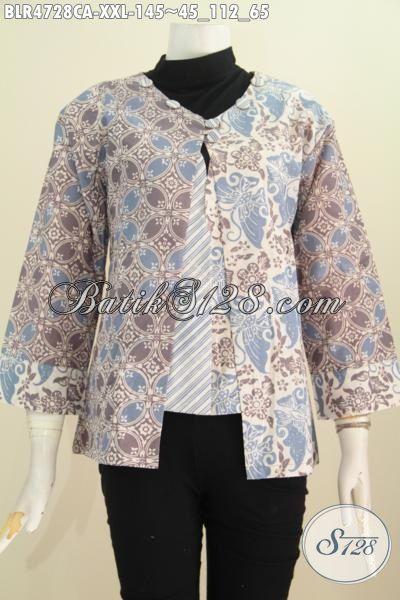 Produk Terbaru Kwalitas Istimewa, Baju Batik Modis Model Balero Berbahan Halus Proses Cap Warna Alam Ukuran XXL Untuk Wanita Gemuk